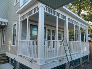 Screened Porch of Historic District House for Sale