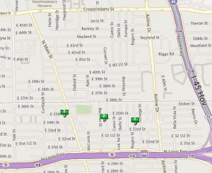 Map of 3 New Homes in Independence Heights