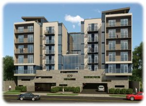 Rendering of new midrise condos at 829 Yale St in Houston Heights.