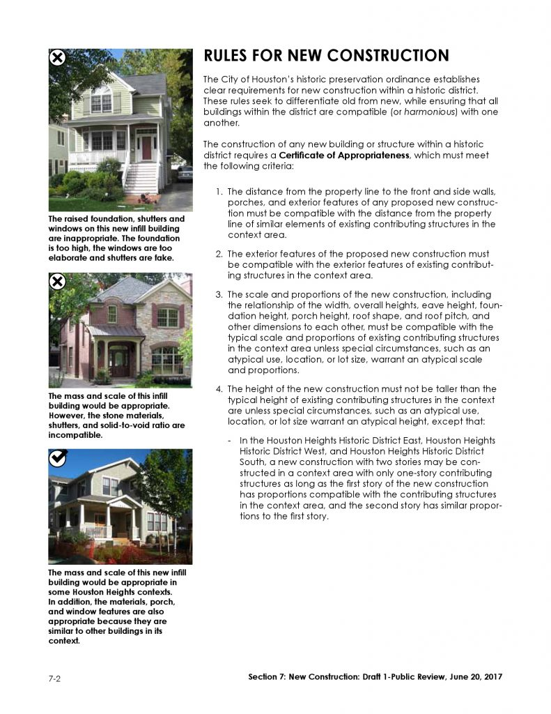 Guidelines for New Construction in Houston Heights Historic Districts