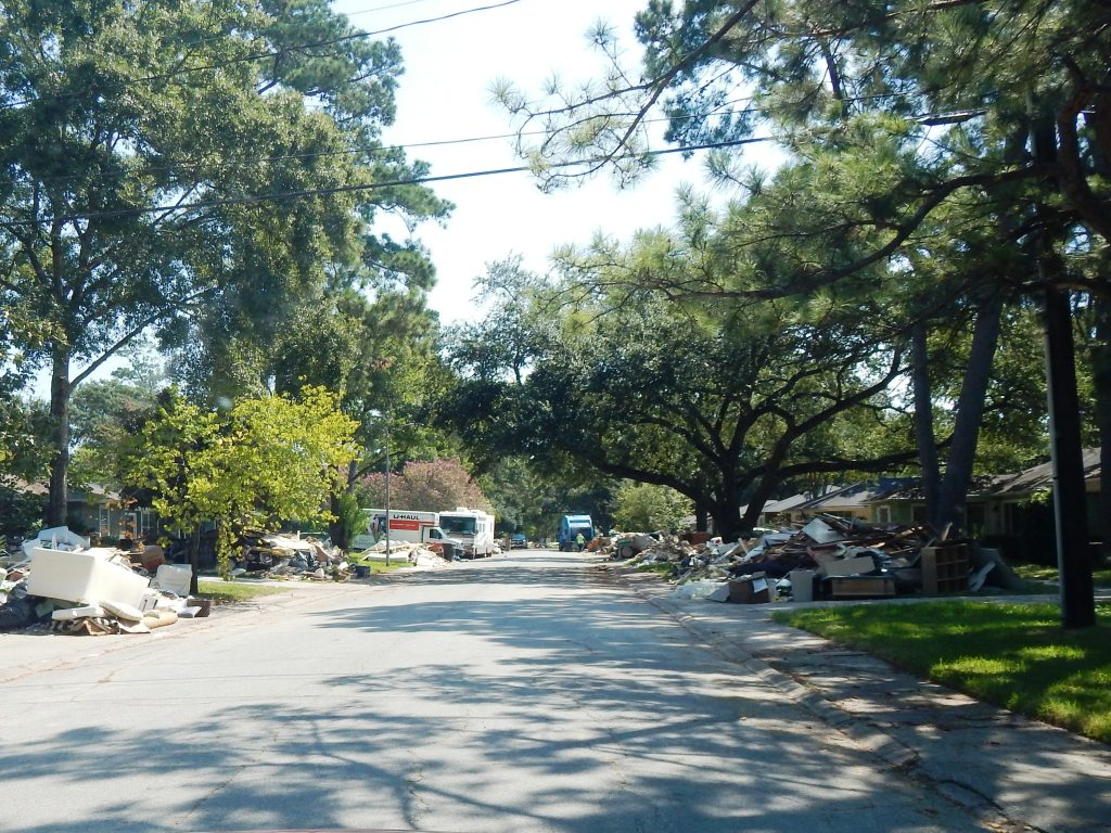 Timbergrove Manor street after hurricane Harvey